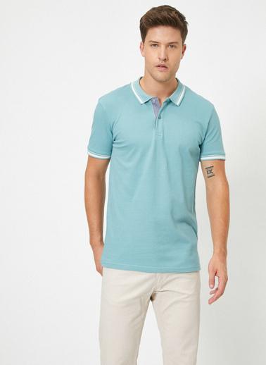 Koton Polo Yaka Kolu ve Yakasi Çzigili Slim Fit T-Shirt Mavi